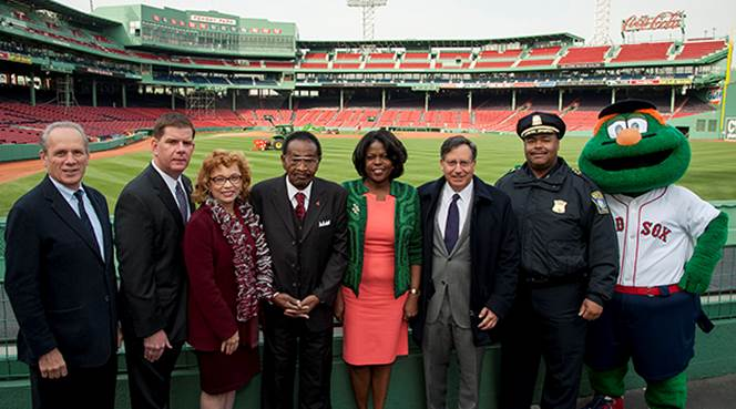 Left to Right: President/CEO of the Boston Red Sox, Larry Lucchino; Mayor Marty Walsh; Chancellor of North Carolina Central University Dr. Debra Saunders-White; Red Sox Special Advisor, Frank Jordan; President of Florida A&M University, Dr. Elmira Mangum; Chairman of the Board of the Boston Red Sox, Tom Werner; Boston Superintendent in Chief, William Gross; and Wally the Green Monster.