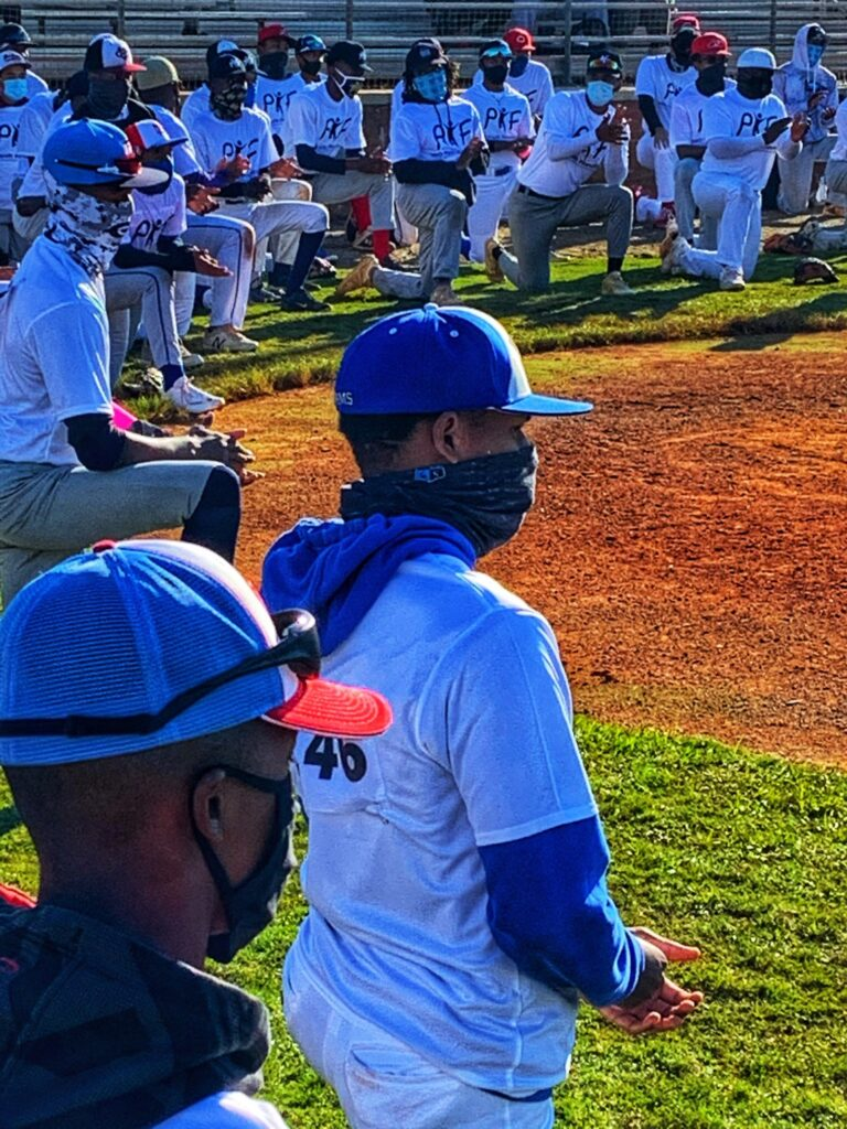 Aspiring Black high school and community college baseball players gather for the Pro-Youth Foundation College and HBCU Showcase at South Gwinnett High School. Photo by Harold Michael Harvey